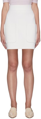 Crush Collection Patch Pocket Wool Knit Mini Skirt