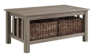 "Walker Edison 40"" Wood Storage Coffee Table with Totes"