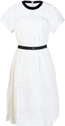 Sacai Broderie-anglaise short-sleeve short dress