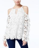 INC International Concepts Petite Lace Ruffled Cold-Shoulder Top, Only at Macy's