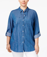 Charter Club Plus Size Denim Roll-Tab Shirt, Only at Macy's