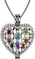Nana Sterling Silver Heart Locket Mother's Pendant Platinum Plated - Diamond Simulated Birthstone - April