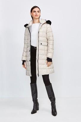 Karen Millen Fur Trim Hood Lightweight Padded Coat