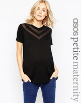 Asos PETITE Top With Sheer And Solid Chevron