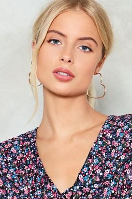 Nasty Gal Womens Be Still My Beating Heart Hoop Earrings - Gold