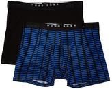 HUGO BOSS 2-Pack Boxer Brief Print (Bright Blue Pattern/Black) Men's Underwear