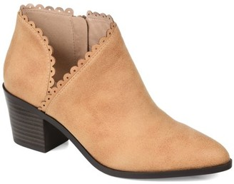 Brinley Co. Womens Scalloped Side Cut-out Bootie