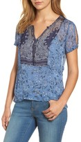 Lucky Brand Women's Lucly Brand Mixed Scarf Print Top