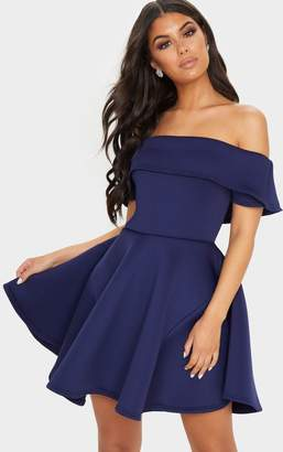 PrettyLittleThing Navy Bonded Scuba Bardot Skater Dress