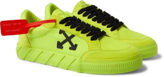 Off-White Neon Canvas And Suede Sneakers