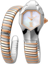 Just Cavalli 22mm Glam Chic Two-Tone Coiled Snake Bracelet Watch, Rose Golden Multi