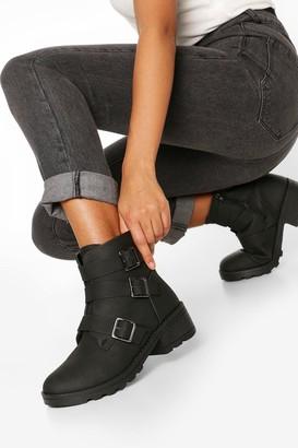 boohoo Wide FIt 3 Buckle Block Heel Biker Boots