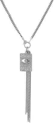 Sheryl Lowe Long Diamond Evil Eye Dog Tag Necklace w/ Fringe Chains