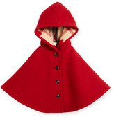 Burberry Rosa Hooded Button-Front Wool Cape, Windsor Red, Size S