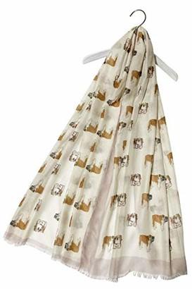 FUREVER GIFTS British Bulldog Puppy Dog Print Frayed Womens Lightweight Cotton Beige Scarf Shawl Adorable Gift