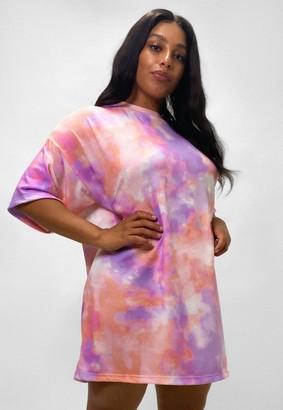 Missguided Plus Size Purple Tie Dye T Shirt Dress