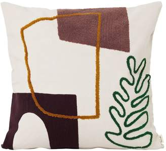 ferm LIVING LEAF MIRAGE COTTON CANVAS PILLOW