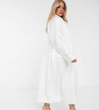 ASOS DESIGN Curve taffeta trench coat in white