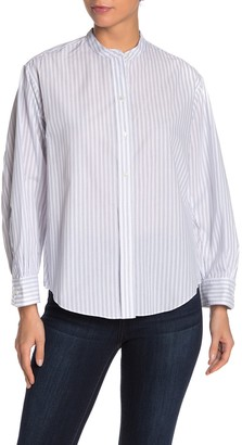Vince Stripe Print Pleated Shirt