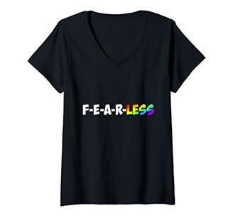 Fearless Womens T-Shirt Motivation Entrepreneur Workout Gym Fitness V-Neck T-Shirt