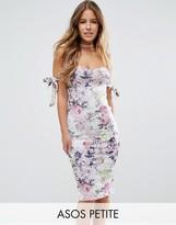 Asos Bow Off Shoulder Midi Dress in Floral Print