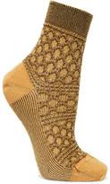 Missoni Metallic Crochet-knit Socks - Mustard