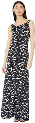 M Missoni Open Back Printed Jersey Long Gown (Black/Blue/White) Women's Clothing