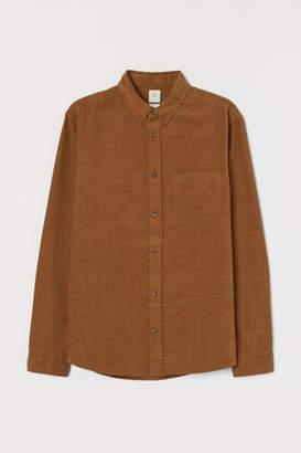 H&M Regular Fit Corduroy Shirt - Beige