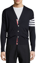 Thom Browne Merino Wool V-Neck Cardigan with Four-Bar Stripe