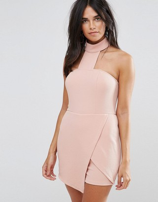 AX Paris Blush Skort Playsuit With A Choker Neckline