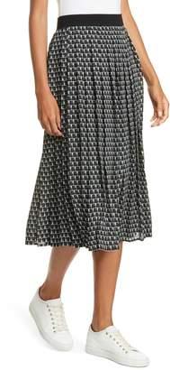 Judith And Charles Vesuvius Geo Print Pleated Midi Skirt