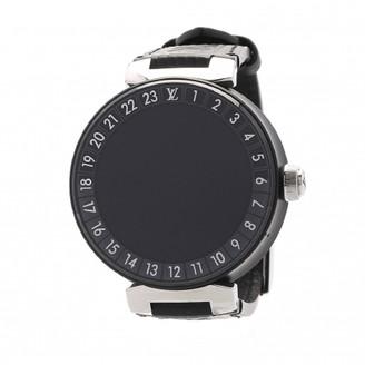 Louis Vuitton Black Stainless Steel Tambour Horizon QA051 Men's Wristwatch 40 MM