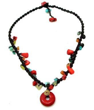 Aeravida Handmade Synthetic Coral Round Harmony Mix Stone Necklace