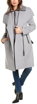 Mackage Nori Leather-Trim Wool & Cashmere-Blend Coat