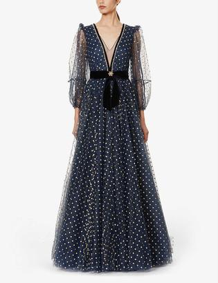 Jenny Packham Kira glitter polka-dot embellished tulle gown