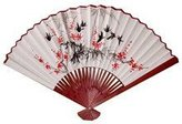 Oriental Furniture Unique Asian Art, Decor Gifts, 42-Inch Japanese White Painted Wall Fan, Red Flowers and Birds No.1