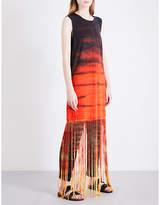 Raquel Allegra Fringed tie-dye jersey dress