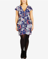 City Chic Trendy Plus Size Zip-Front Floral-Print Tunic Dress