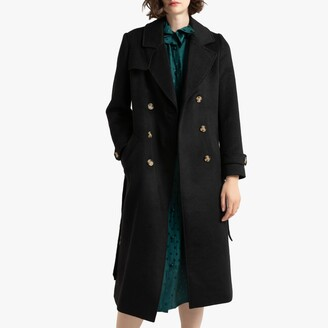 La Redoute Collections Long Double-Breasted Coat in Wool Mix with Pockets and Belt
