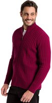 Wool Overs WoolOvers Mens Lambswool Cable Zipper Knitted Cardigan , XL