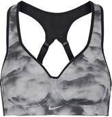 Nike Pro Rival Mesh-trimmed Printed Dri-fit Stretch Sports Bra - Gray