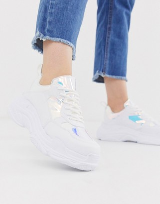 Head Over Heels By Dune Elyza white chunky trainers with irridescent panels