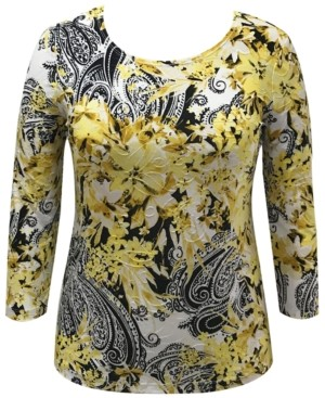 JM Collection Petite Floral Paisley Top, Created for Macy's