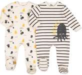La Redoute Collections Pack of 2 Fleece Pyjamas with Octopus Print, Birth-3 Years