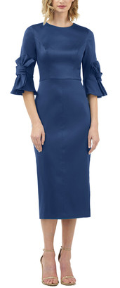 Kay Unger Elbow-Sleeve Solid Midi Dress