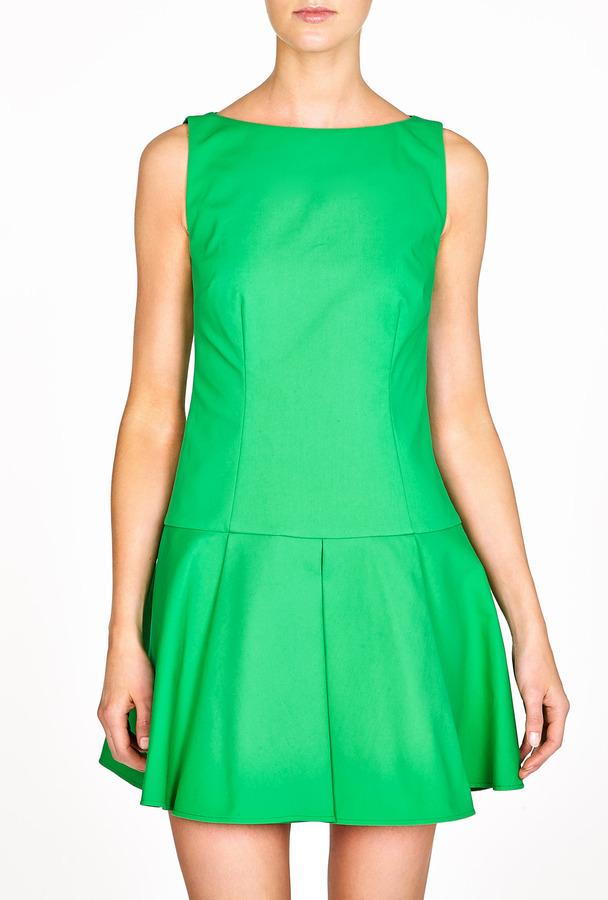 RED Valentino Green Flare Dropped Waist Dress