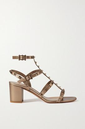 Valentino Garavani Rockstud 60 Leather Sandals - Gold