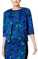 Kasper Women's Floral Printed Rounded Flyaway Jacket