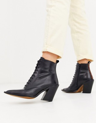 Asos Design DESIGN Redwood premium leather western lace up boots in black