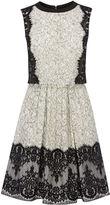 Karen Millen Layered Effect Lace Full Skirt - Blk&wht